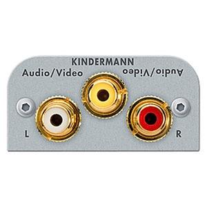 Anschlussblende mit Kabelpeitsche, Video, Audio L/R (3x Cinch), Halbblende, Aluminium eloxiert