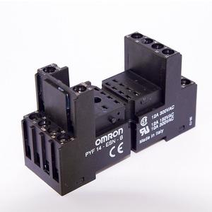 PYF14-ESS-B, Sockel (schwarz) für DIN-Schiene, für M2 + MY4, Fahrstuhl-Schraubklemmen, Spulen- + Wurzelanschlüsse unten