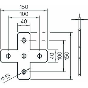 GMS 5 VP X A2, Verbindungsplatte X-Form 150x150x40x4, V2A, A2