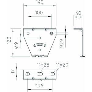 KU 3 V A2, Kopfplatte für US 3 und 2068, variabel, V2A, A2