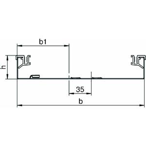 AIKA U 25040, Abzweigekanal-Unterteil für Aufboden-Kanal 2400x250x40, St, FS, Preis per Stück, L=2,4m
