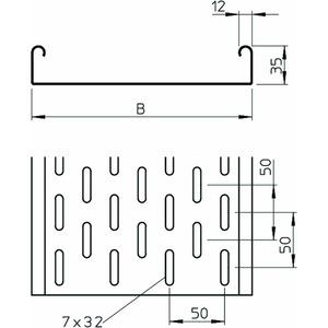 MKS 305 FS, Kabelrinne MKS gelocht, mit Verbinder-Set 35x50x3000, St, FS