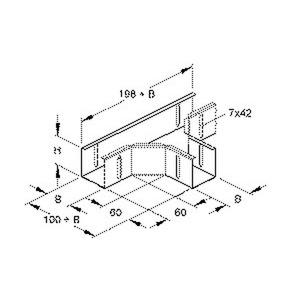 RTSK 50.050, T-Stück für Mini- und Verteilerkabelrinne, 50x52 mm, Stahl, bandverzinkt DIN EN 10346, inkl. Zubehör