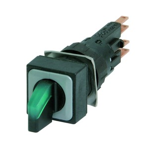 Q18LWK3R-GN, Leuchtwahltaste, rastend, 45°  45°, 18 x 18 mm, 3 Stellungen, mit Knebelgriff, grün, inkl. Verdrehschutz VS, ohne Leuchtmittel, mit Sockel W2x4,6d, ma