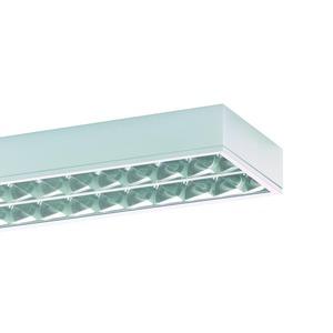 SHL 280 SG, Sporthallenleuchte, Ballwurfsicherheit nach DIN 18032, IP40, inkl. 2x80W Lampe LF 840, EVG, Scheibe aus PMMA, hochglänzender Parabolspiegelraster u. R