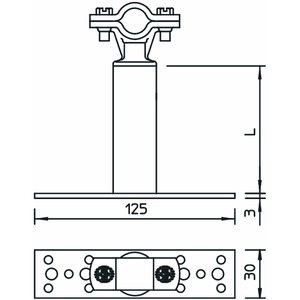 ISO-A-500, ISO-Abstandhalter mit Befestigung 500mm, Alu