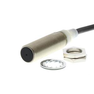E2A-M12KS02-WP-B1-TP 5M, Näherungsschalter, induktiv, M12, abgeschirmt, 2 mm, DC, 3-adrig, PNP / Schließer, 5 m PVC-Kabel, inkl. Zahnscheiben