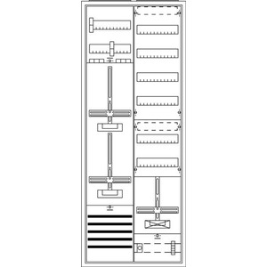 KS2251, Komplettschrank, Aufputz mit Zählerkreuz, 2/5A 2Z1S+V6