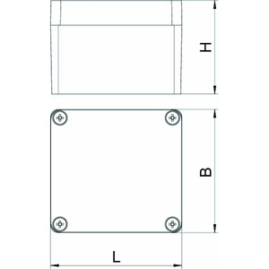 Mx 080705 SGR, Aluminiumleergehäuse 80x75x57, AlG, P, silbergrau, RAL 7001
