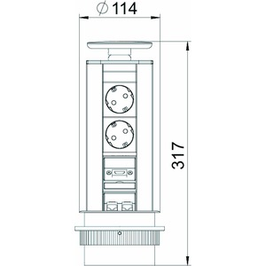 DBV-MHA3E D2S2K, Deskbox, versenkbar zum Einbau in Tischplatten, Alu, EL, alu