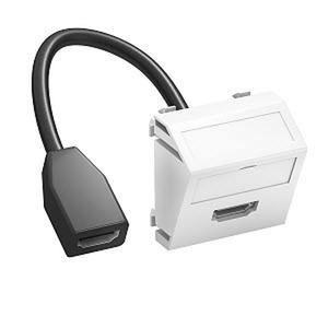 MTS-HD F RW1, Multimediaträger HDMI mit Kabel, Buchse-Buchse 45x45mm, PC, reinweiß, RAL 9010