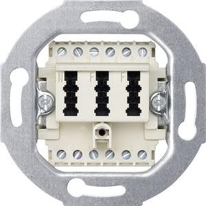 Fernmelde-Anschlussdose TAE 3fach, 2x6/6 NF/F, weiß