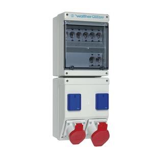 Kunststoff-Steckdosenkombination In: 63A mit 4 Neozed, 2 CEE-Abgänge 16-32A, 2 Schukos und Klemmsatz K25 10P-6953002