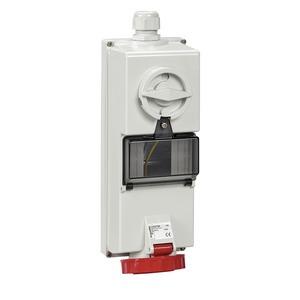 Steckdose mit Verriegelung, 16A, 3p+N+E, 380-415 V AC, IP65, Aufputz
