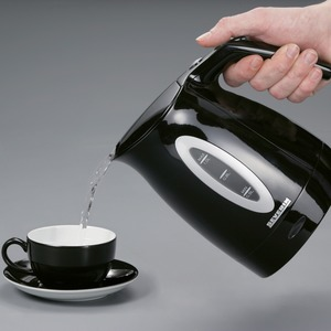 Wasserkocher, ca. 1000 W, 1,0 Liter schwarz-silber