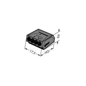 Verbindungsdosenklemme 4-Leiter-Klemme 1 - 2.5 mm² dunkelgrau