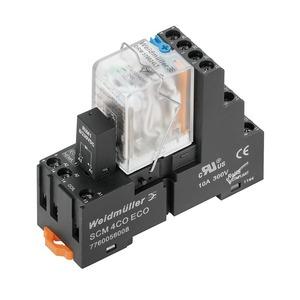 DRMKIT 220VDC 4CO LD/PB, Relaiskoppler, 220 V DC, LED grün, Freilaufdiode, 4 Wechsler mit Prüftaste (AgNi 0,15 µm Au) , 250 V AC, 5 A, Schraubanschluss