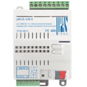72130-180-14, IPAS uBrick s6 KNX Jalousieaktor besitzt 6 Kanäle 10A resistiv (A, B, C, D, E, F) mit jeweils 2 Schaltkontakten für bis zu 6 Jalousie