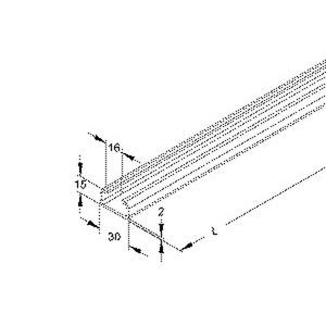 2971/2 FO, Ankerschiene, C-Profil,Schlitzweite 16 mm, 30x15x2000mm, t=2mm, ungel., Stahl, feuerverzinkt DIN EN ISO 1461