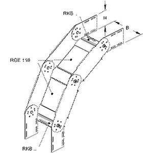 RGS 110.300, Bogen für KR, verstellbar, vertikal, 110x300 mm, Stahl, bandverzinkt DIN EN 10346, inkl. Zubehör