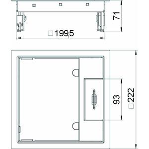 GES4M-2 10U, Geräteeinsatz für Universalmontage 223x223x70, V2A, 1.4301