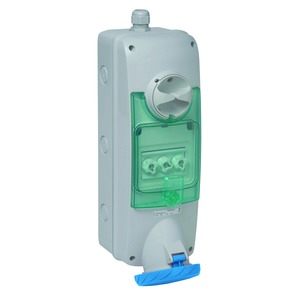 Anbausteckdose verriegelt, 63A, 3p+E, 200-250 V AC, IP65