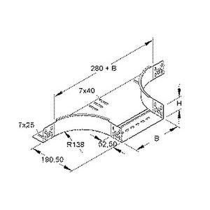 RTA 60.200 F, Anbau T-Stück für KR, 60x202 mm, mit ungelochten Seitenholmen, Stahl, feuerverzinkt DIN EN ISO 1461, inkl. Zubehör