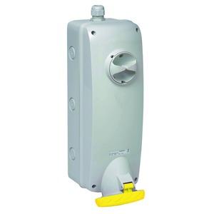 Anbausteckdose verriegelt, 63A, 3p+N+E, 100-130 V AC, IP65