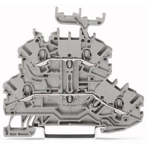 Doppelstockklemme L/L mit Beschriftungsträger 1 mm² grau
