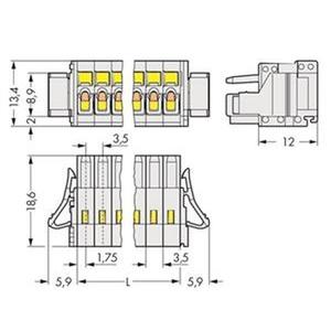 1-Leiter-Federleiste 100% fehlsteckgeschützt Verriegelungsklinke 1,5 mm² Rastermaß 3,5 mm 3-polig lichtgrau