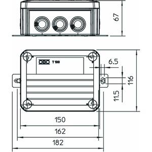 T 100 ED 10-6 AF, Kabelabzweigkasten E30/E90, mit Sicherungshalter 150x116x67, PP, pastellorange, RAL 2003