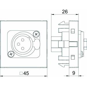 MTG-X3F S RW1, Multimediaträger XLR 3-polig Buchse mit Schraubanschluss 45x45mm, PC, reinweiß, RAL 9010