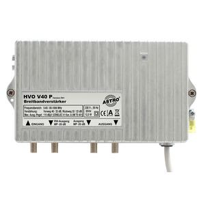 HVO V 40 P, Breitbandverstärker mit 65 MHz Rückweg, ortsgespeist, Vorweg bis 1006 MHz, Verstärkung Vorweg 40 / 32 dB, Ausgangspegel Vorweg 110 dBµV, Verstärkung R