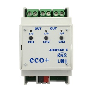 AH3F16H-E, KNX eco+ Schaltaktor 3-fach, Handbedienung, 3 TE  Schaltleistung 16A 250 VAC, C-Last 140µF