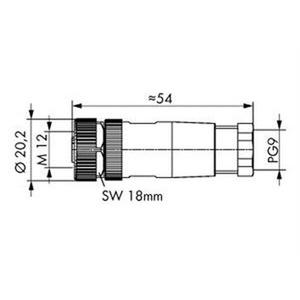 Steckverbinder für Sensor-/Aktorkabel 5-polig M12-Buchse axial