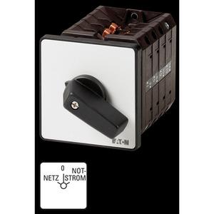 T5B-4-8902/E, Umschalter, T5B, 63 A, Einbau, 4 Baueinheit(en), Kontakte: 8, 60 °, rastend, mit 0-Stellung, Netz-0-Notstrom, Abwicklungsnummer 8902