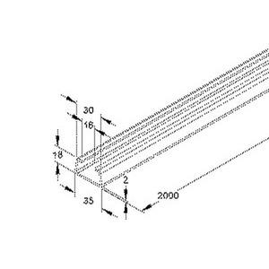 2763/2, Profilschiene, C-Profil SW 16 mm, 18x35x2000 mm, ungelocht, Stahl, bandverzinkt DIN EN 10346