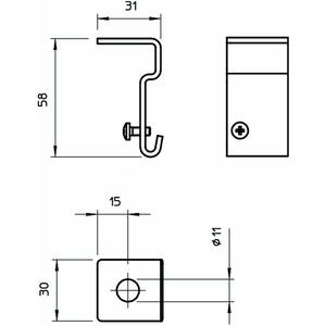 SH M10 FS, Seitenhalter für Gitterrinne 58x31, St, FS