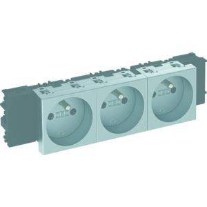 STD-F0C AL3, Steckdose 0°, 3-fach mit Erdungsstift, Connect 45 250V, 10/16A, PC, alu lackiert
