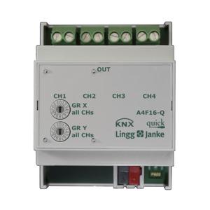 A4F16-Q, KNX quick Schaltaktor 4-fach, 4 TE  Schaltleistung 16A 250 VAC, C-Last 200µF