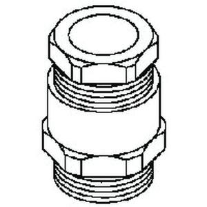530/21, Kabelverschraubung, Sechskant-ZW-Stutzen, Pg 21, für Kabel-Ø 17-19 mm, Messing, vernickelt