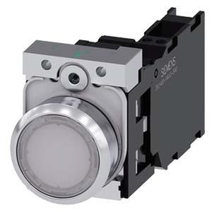 3SU1152-0AB60-3FA0, Drucktaster, beleuchtet, 22mm, rund, Metall, hochglanz, weiß, Druckknopf, 1S+1Ö