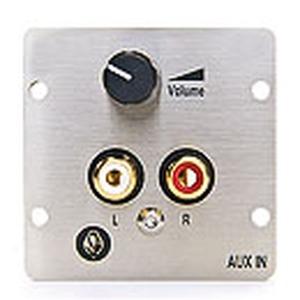 Anschlussblende mit Klemmanschluss, Audio 2 x Cinch/ 1 x Klinke (3,5 mm Stereo), mit Lautstärkeregler/Poti, passiv, Vollblende, Aluminium eloxiert
