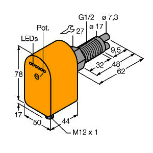 FCS-GL1/2A2P-LIX-H1141/A, Strömungsüberwachung, Eintauchsensor mit integrierter Auswerteelektronik