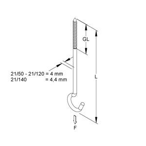 21/60, Deckenhaken mit Holzschraubengewinde Ø 4 mm, Länge 60 mm, Stahl, galvanisch verzinkt DIN EN ISO 2081, blaupassiviert