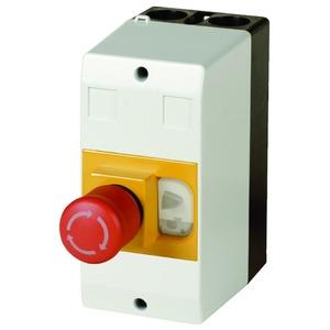 CI-PKZ01-PVS, Isolierstoffgehäuse, CI-PKZ01, H x B x T = 158 x 80 x 177 mm, IP65, + NOT-AUS-Pilztaster, schlüsselbetätigt