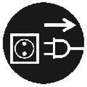 MAS-C-1, Gebotszeichen, Größe C=50mm Vor Öffnen Netzstecker ziehen VE = 10 Karten, 5 Sy Preis per VPE  VPE =10