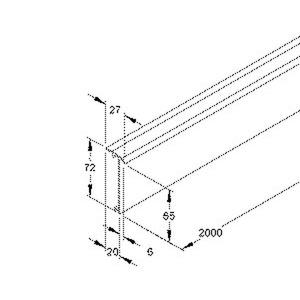 T/SD70.3, Teppichleistenoberteil, 72x27x2000 mm, Kunststoff PVC-hart, RAL 9010, reinweiß