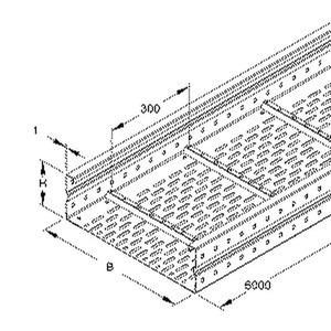 WRL 150.600 F, Weitspannkabelrinne, 150x600x6000 mm, t=1,5 mm, gelocht, Stahl, feuerverzinkt DIN EN ISO 1461, inkl. Zubehör