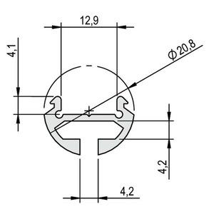 Profil Aluminium PINO SOLO 1m